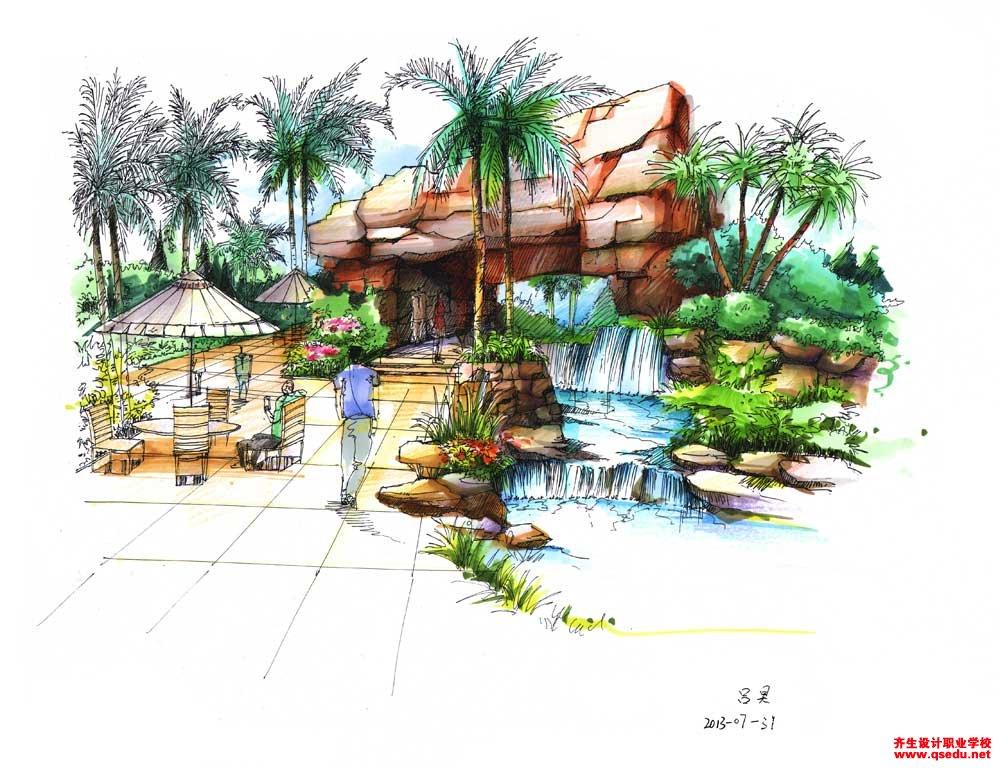 园林景观手绘效果图14景观手绘作品