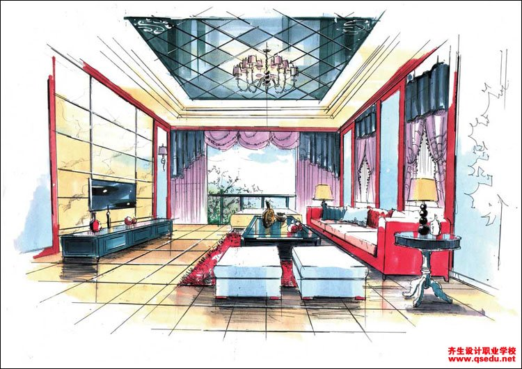 室内手绘效果图1