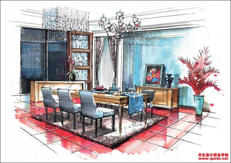 室内手绘效果图2