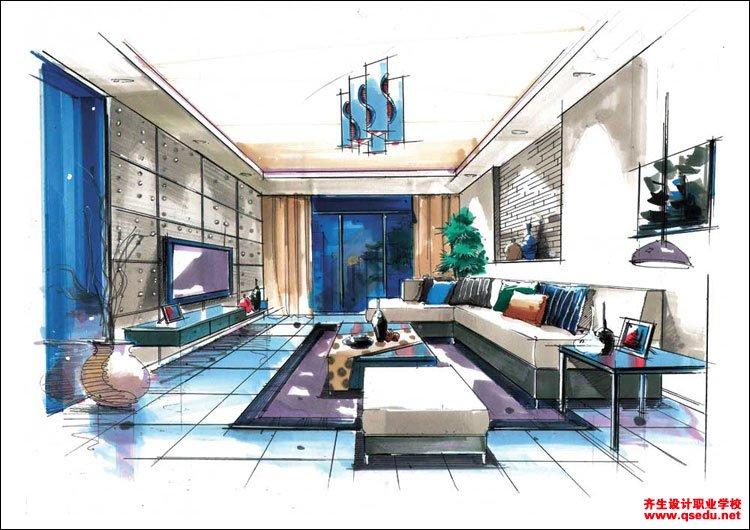 室内手绘效果图4