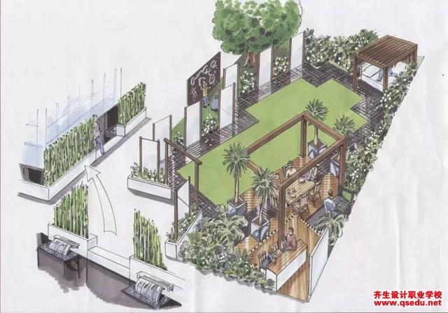 庭院设计-45度对角线手法设计花园,花园变大了