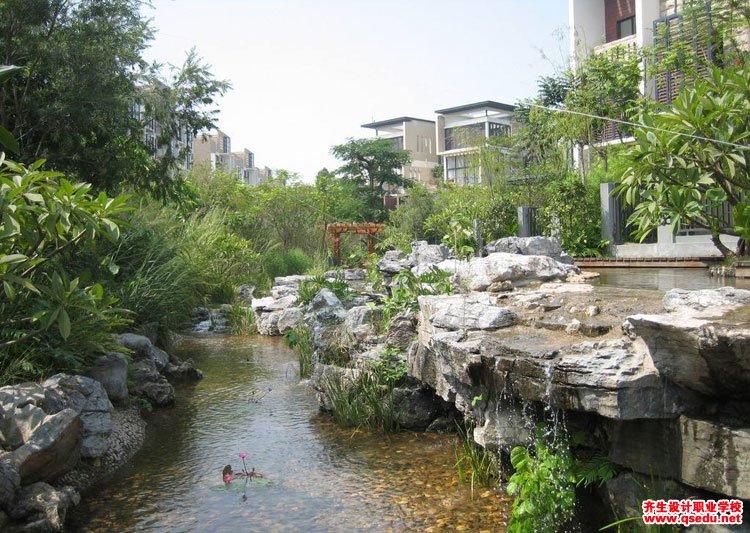 居住区庭院水景景观(瀑布跌水,溪流,生态水池)设计要求图片