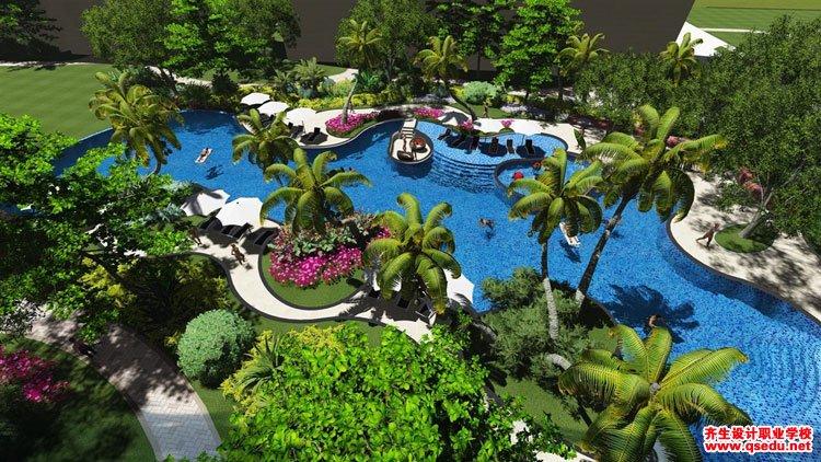 居住区水景(游泳池,喷泉,倒影池)设计要求图片