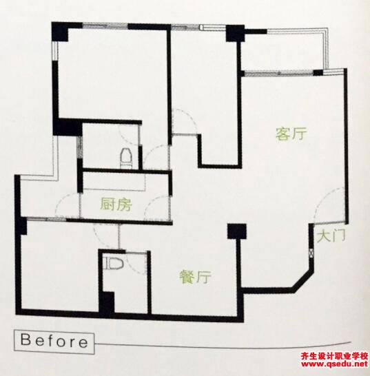 """餐厅厨房设计:""""一""""字形厨房狭小的解决方法"""