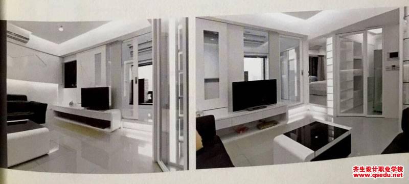 客厅设计:客厅在厨房和卫生间之间无一点采光的解决方法