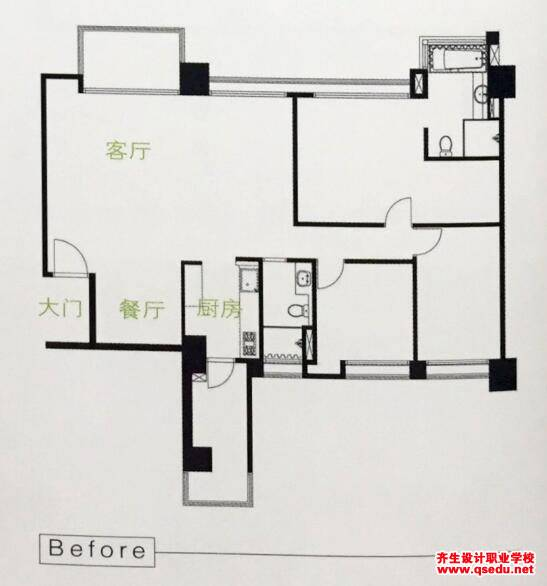 玄关设计:加长厨房收纳墙创造玄关的设计方法