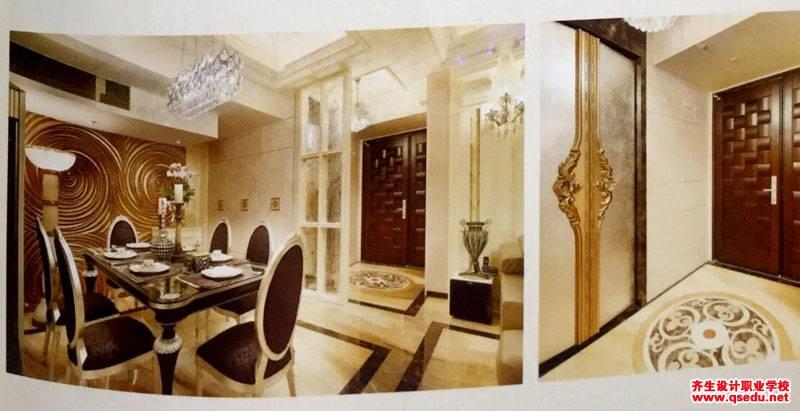 玄关设计:艺术玻璃屏风解决大门正对厨房后门风水问题
