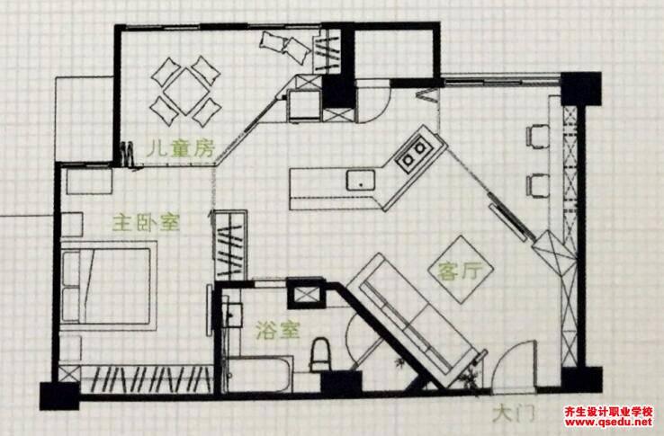 典型户型改造设计:小三室变大三室
